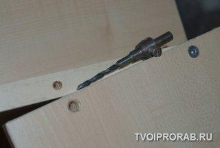 Просверливание отверстий под мебельные болты