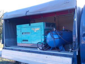 Использование компрессора с отбойными молотками в строительстве